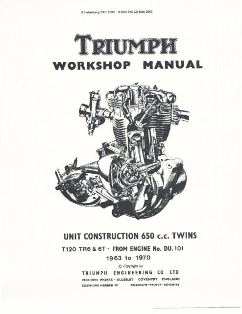 Triumph Workshop Manual 1964 Trophy TR 6 for sale online