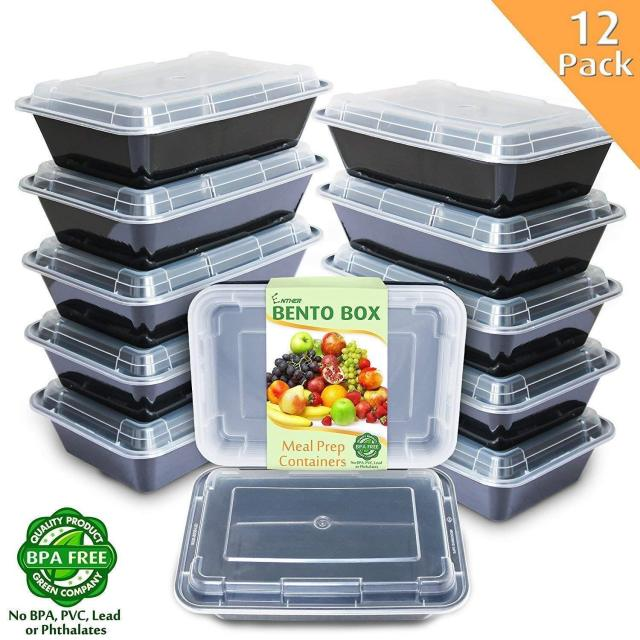 Meal Prep Containers [12 Pack] 1 Compartment with Lids Food Storage Bento Box 2