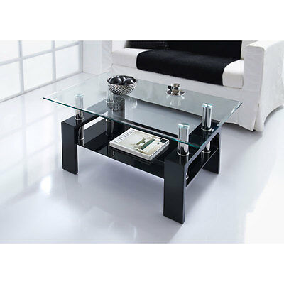 modern stylish luxury nevada glass coffee table in black home furniture 3200488287321 ebay