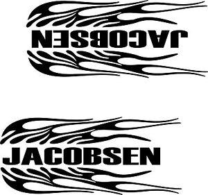 2- JACOBSEN FLAMING DECALS BLACK 3 1/2