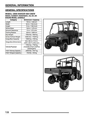 2009 Polaris Ranger 700 4X4 CREW 6X6 EFI Workshop Service