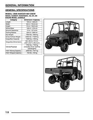 2009 Polaris Ranger 700 4X4 CREW 6X6 EFI Workshop Service