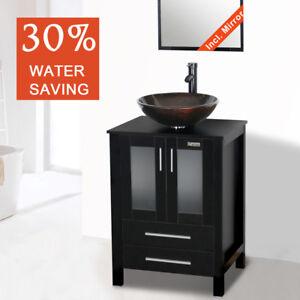 details about 24 modern black bathroom vanity bowl sink mirror faucet drain single top wood