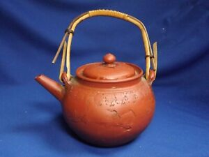 "ANTIQUE CHINESE YIXING ZISHA TEAPOT IMPRESSED GYLINS UNSIGNED 5 1/2""SPOUT-HAND"