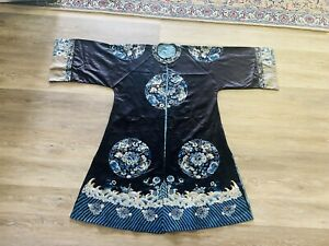 Outstanding Antique Chinese Blue Silk Ladies Embroidered Robe Qing Period