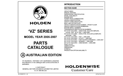 VZ Commodore & HSV Spare Parts Catalogue Info Sheets
