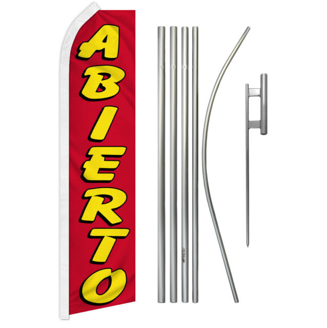 Abierto Swooper Flutter Feather Advertising Flag Kit Open We're Now Open | eBay