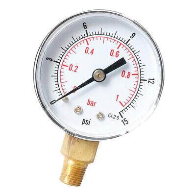 Air Water Pressure Gauge 1/8 BSP Manometer Y508 0-15psi Center Back Mount   eBay