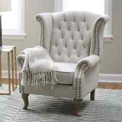 Tufted Nailhead Chair Ashley Furniture Lift Wingback Accent Trim Linen Blend Office Living Image Is Loading