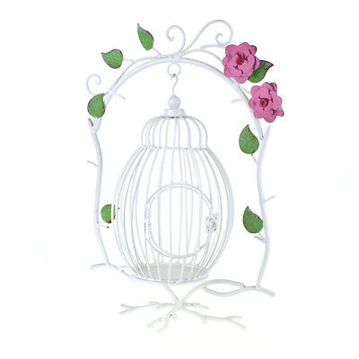 Metal Wire Hanging Branch and Bird Cage, White, 19-Inch