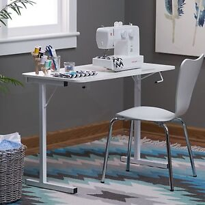 Sewing Machine Table White Resin Folding Compact Craft