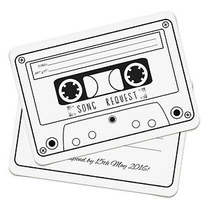 Personalised Cassette Song Request RSVP Cards Invitations