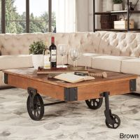 Rustic Coffee Table Industrial Wheels Cocktail Modern Wood ...