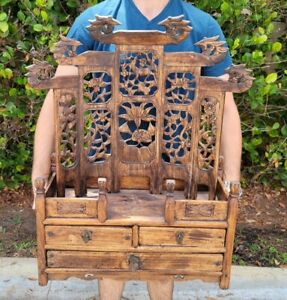 Chinese Carved Wood Alter Cabinet With Phoenix Lotus