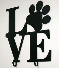 Black Metal Dog Leash Holder- Puppy Love Paw Print Wall ...
