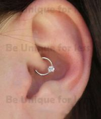 Daith Crystal Flower Sterling Silver Ring Helix Cartilage ...