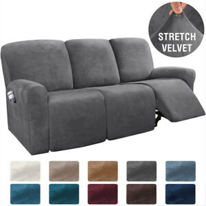 details about 8 pieces recliner chair sofa covers velvet stretch reclining couch slipcovers