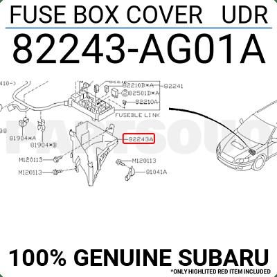 82243AG01A Genuine Subaru FUSE BOX COVER UDR 82243-AG01A