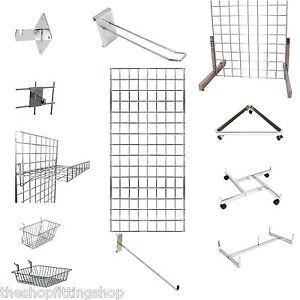 Gridwall Mesh Display Panels Chrome Accessories Hooks
