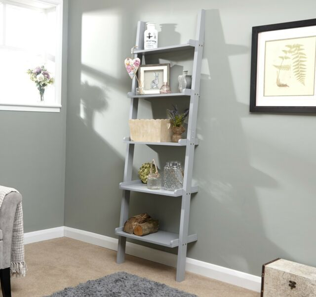Grey Ladder Shelving Unit 5 Tier Display Stand Book Shelf Wall Rack Storage  eBay