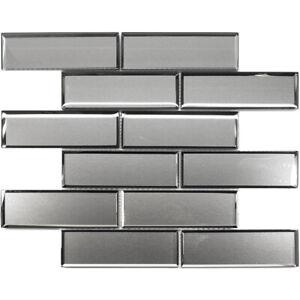 details about light gray silver border outline subway glass mosaic tile kitchen backsplash