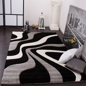 carpet for living room brown and off white ideas black rug thick modern short pile image is loading