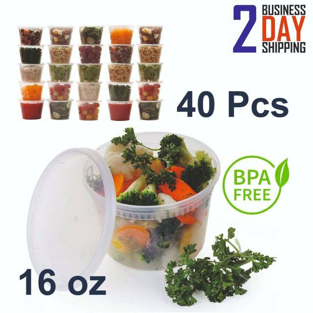 40 Pcs 16oz Large Plastic Food Storage Containers Set With Lids Durable Reusable 2