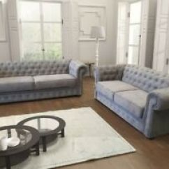 Chesterfield Style Fabric Sofa Coaster Sectional Reviews New Ebay Image Is Loading