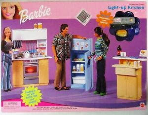 barbie kitchen playset aid cabinets light up new ebay image is loading