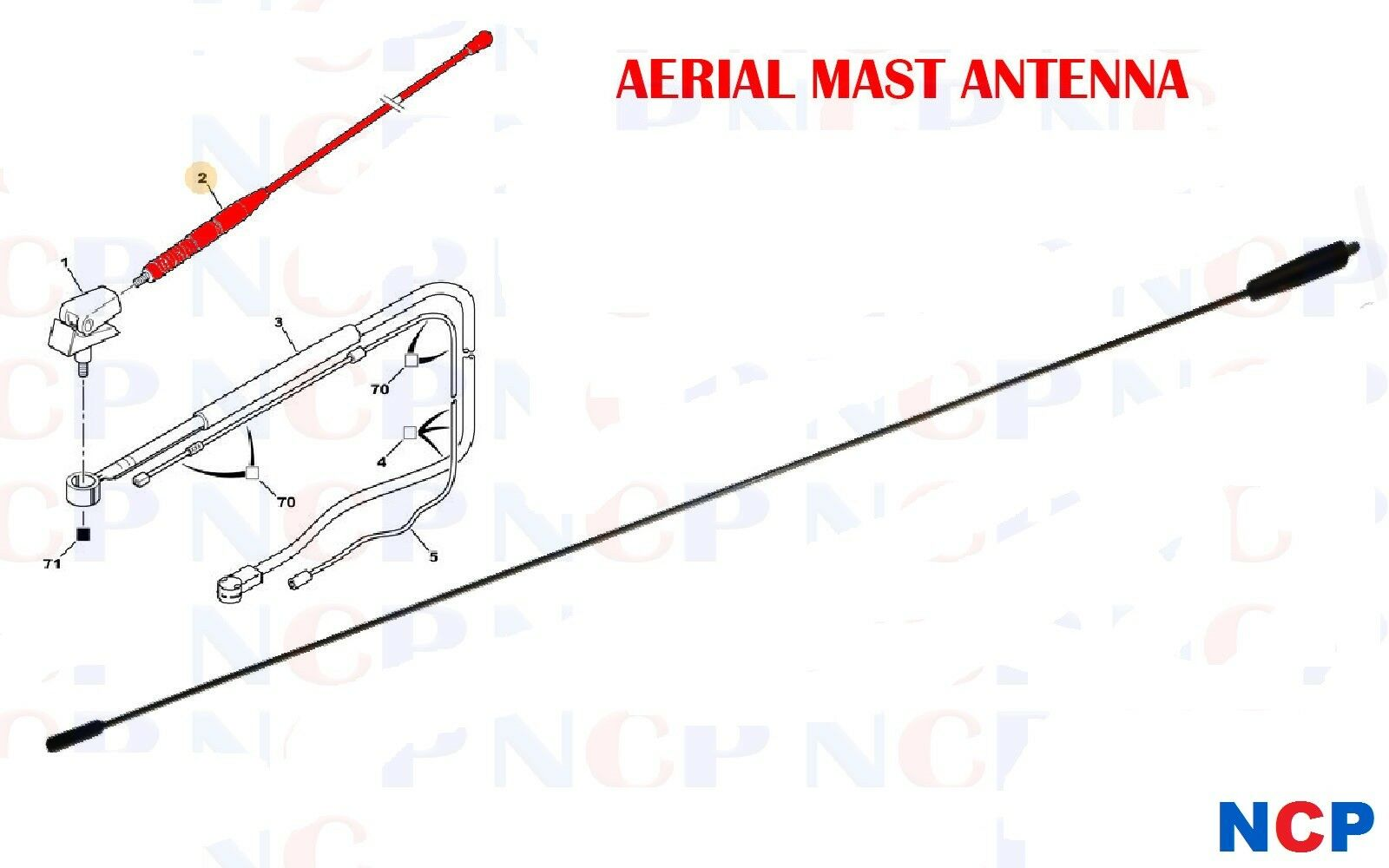 PEUGEOT 106 206 306 406 806 EXPERT PARTNER AERIAL MAST