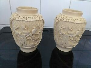 Two Vintage Cinnabar Style Chinese Vases signed