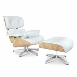 white eames lounge chair replica sling replacement fabric canada mid century style ottoman genuine image is loading amp