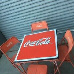 Coca Cola Chairs And Tables Metal Tub Vintage Folding Table 4 Embossed Lettering Image Is Loading Amp