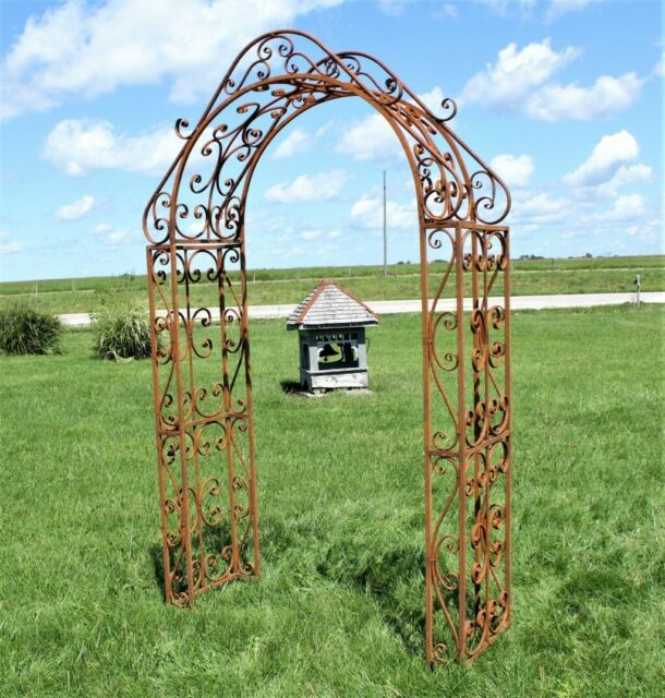 Climbing Jasmine Wrought Iron Garden Arbor Dramatic Arched Top For Sale Online