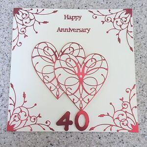 Handmade Ruby Wedding Anniversary card Happy 40th Wedding Anniversary Large 40  eBay