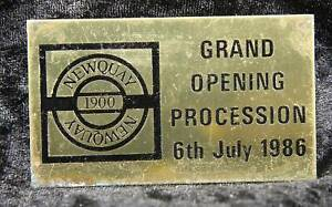 Grand opening procession Newquay 1986 cornwall badge plaques transport