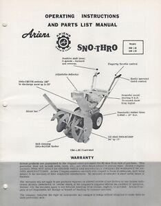ARIENS SNO-THRO & ATTACHMENT OPERATORS/PARTS MANUAL ST-62