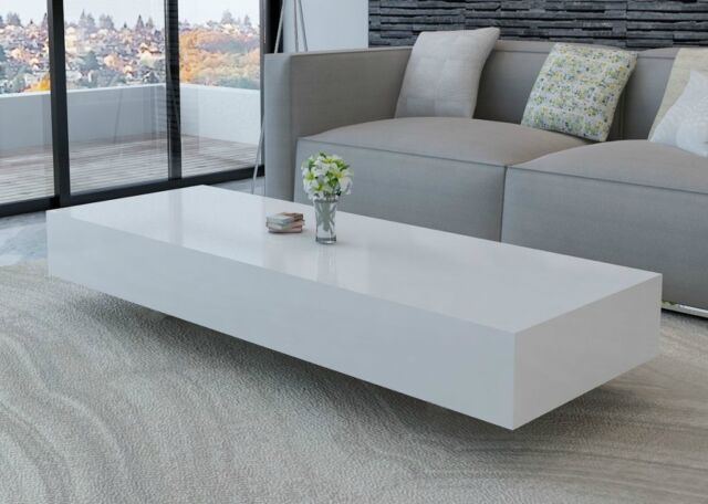 white gloss living room furniture show me pictures coffee table high rectangular modern 115cm new
