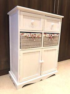 details sur blanc meuble de rangement 2 armoire 2 osier tiroir panier fleur rose filles meubles afficher le titre d origine
