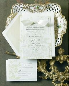 Details About 12 Elegant Wedding Invitations Kit Green Fl Set Formal Reply Cards New