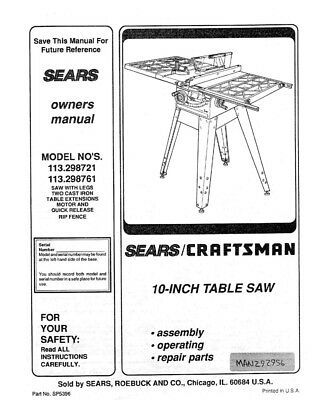 Craftsman 113.298721 113.298761 Table Saw Owners