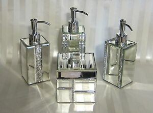 bling bathroom accessories sets BELLA LUX Crystal Mirror Rhinestone BATHROOM ACCESSORIES Pump Jar Lid Tray NEW | eBay