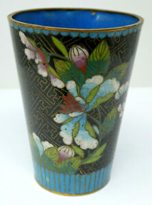 Vintage Chinese Cloisonne Beaker with Floral Decoration