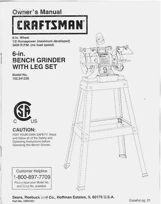 Craftsman 152.241230 Bench Grinder Owners Instruction