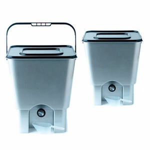 kitchen composter cheap chairs twin bokashi bucket bran 2 x 18l plastic bins image is loading amp