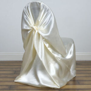 chair covers wedding ebay office plastic mat ivory satin universal pillowcase party image is loading