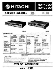 Instrucciones Manual de Servicio Para hitachi HA-3700, HA