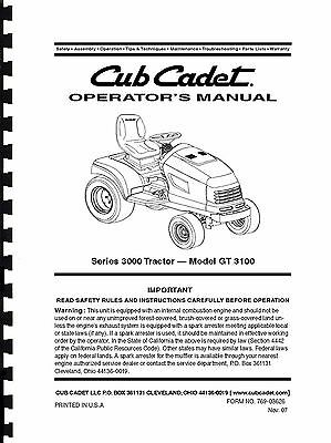 Cub Cadet Lawn Tractor Operator's Manual Model No. GT 3100