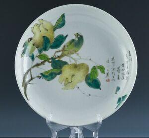 V.FINE LARGE CHINESE FAMILLE VERTE NOIR BIRD FINGER CITRON FRUIT LANDSCAPE PLATE