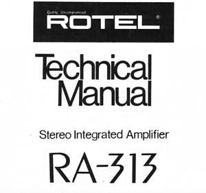Rotel ra-313 ra-311 Schematic Diagram Service Manual